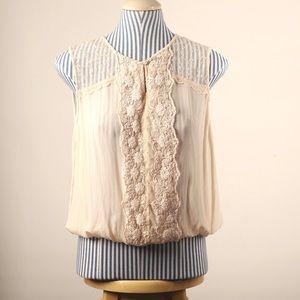 Cream Bongo sleeveless top with lace XL